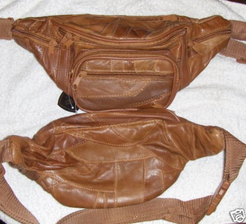 Genuine Patchwork Leather Fanny Pack - #7078 - BROWN'S