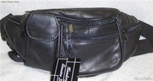 Genuine Leather Fanny Pack #3064-BLACK