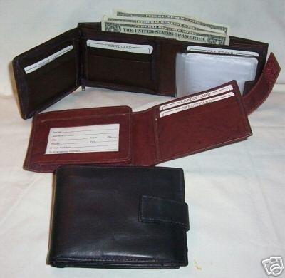 Genuine Leather Men's or Ladies Wallet- #2092 BLACK