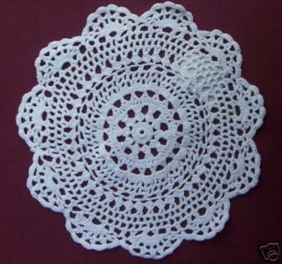 "New 14"" Medallion Design White 100% Cotton Doilies"
