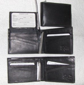 Genuine Leather Men's Bifold Wallet- #533 BLACK