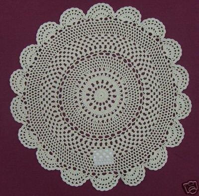 "New 16"" Medallion Design Ecru 100% Cotton Doily"