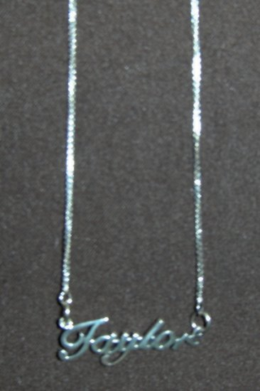Sterling Silver Name Necklace - Name Plate - TAYLOR