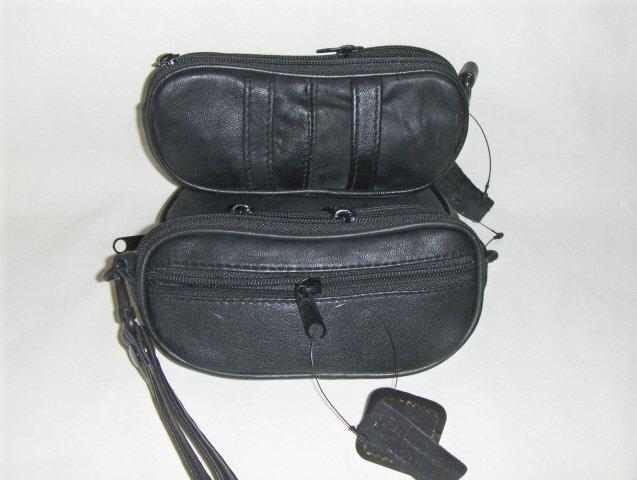 Genuine Leather Double Eyeglass Case/Pipe Holder - BLACK