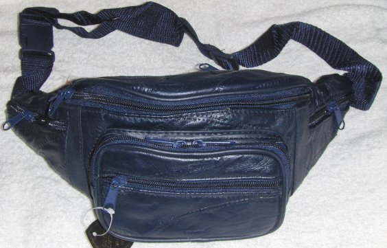 Genuine Patchwork Leather Fanny Pack - #7078 -NAVY BLUE