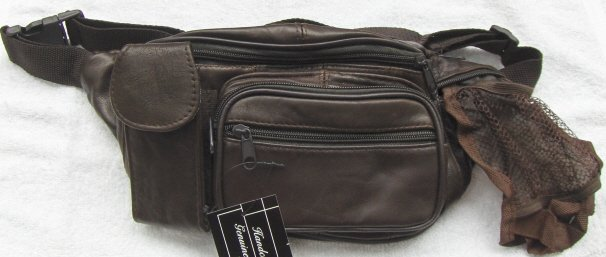 Genuine Lambskin Leather Fanny Pack - #3074 - DK. BROWN