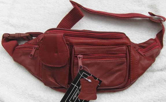 Genuine Leather Fanny Pack #3064-DARK RED