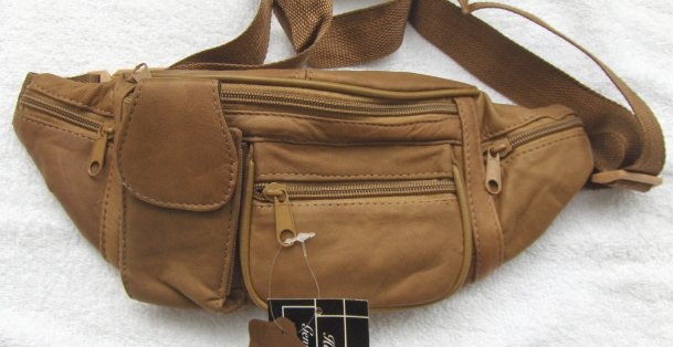 Genuine Leather Fanny Pack #3064-Lt. Brown