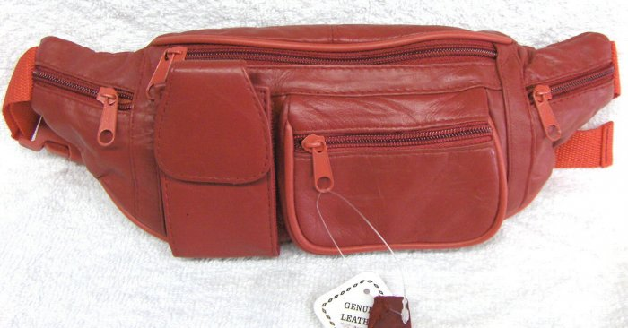 Genuine Leather Fanny Pack #3064-RED