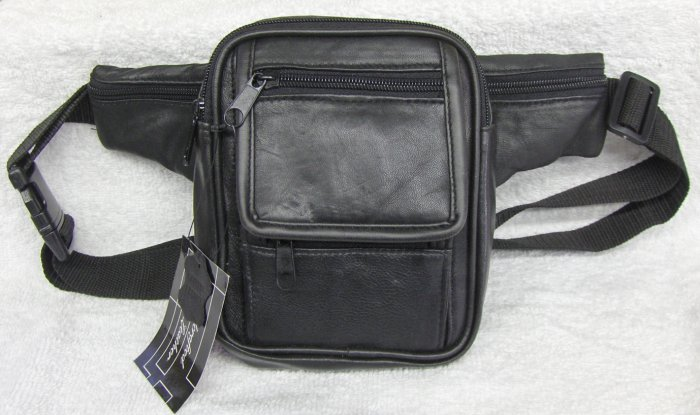 Genuine Leather Fanny Pack - #3059 - BLACK