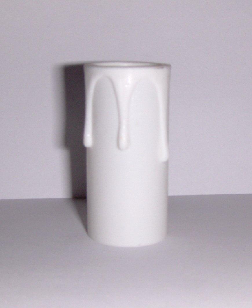 """2"""" White w/White Drips Plastic Chandelier Socket Cover"""
