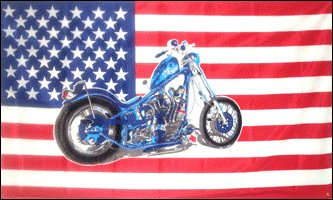 USA Flag with Motorcycle 3' x 5' Flag