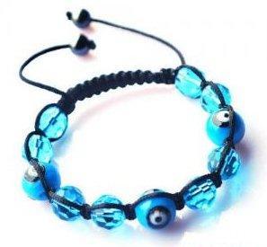 "Aqua Evil Eye Beaded Bracelet or Anklet Adjustable 7""-10"" avail. in 5 colors"
