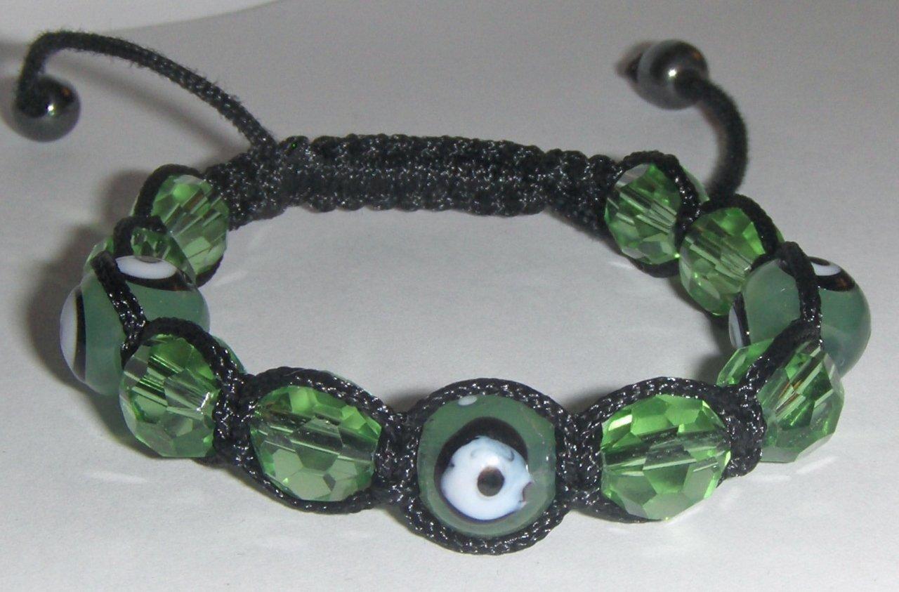 "Green Evil Eye Beaded Bracelet or Anklet Adjustable 7""-10"" avail. in 5 colors"