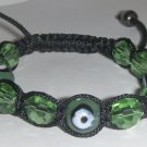 "Green Evil Eye Beaded Bracelet or Anklet Adjustable 7""-10"" avail. in 5 colors"
