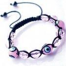 """Pink Evil Eye Beaded Bracelet or Anklet Adjustable 7""""-10"""" avail. in 5 colors"""
