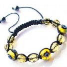 "Yellow Evil Eye Beaded Bracelet or Anklet Adjustable 7""-10"" avail. in 5 colors"