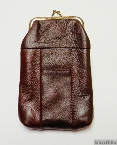 Genuine Leather Soft Cigarette Case - DARK BURGUNDY