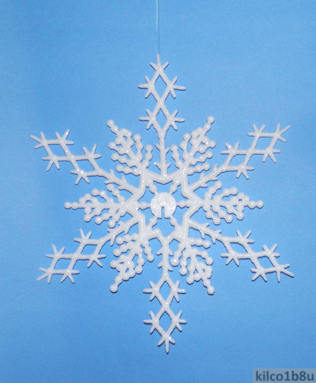 """6 pc. WHITE  6.5"""" Glittered Plastic Snowflake Ornaments"""