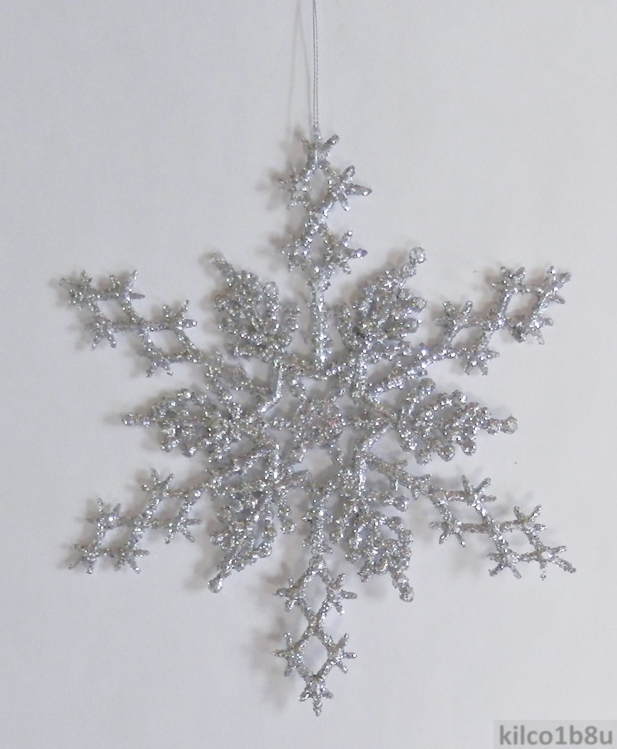 "6 pc. SILVER 6.5"" Glittered Plastic Snowflake Ornaments"