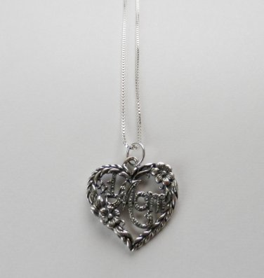 Sterling Silver Talking Necklace - # 1 MOM HEART #765