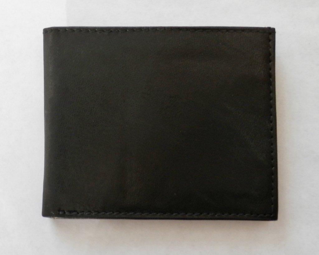 Genuine Leather Men's THIN Bifold Wallet- #T60 BLACK