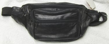 Genuine Leather Fanny Pack w/water bottle holder #50 BLACK