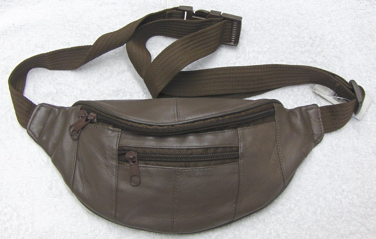 Genuine Leather Petite Fanny Pack #07-Brown