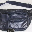 Genuine Patch Leather Fanny Pack - #7073 - NAVY BLUE