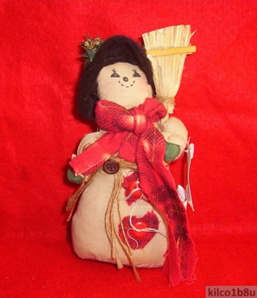Country Looking Muslin Snowman/Snow Lady-Snowgirl