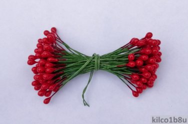 "RED HOLLY BERRIES 1/4"" w-green wire for Holiday decorating #2"