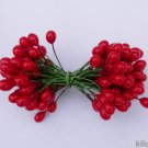 "RED HOLLY BERRIES 3/8"" w-green wire for Holiday decorating #4"
