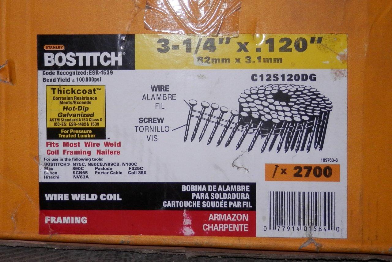 "NIB STANLEY-BOSTITCH C12S120DG 3-1/4"" X .120 GALV COIL FRAMING NAIL 2700CT"