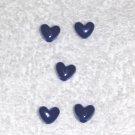 Royal Blue Opaque  6 x 9 mm Plastic Heart Pony Beads 65 pcs.