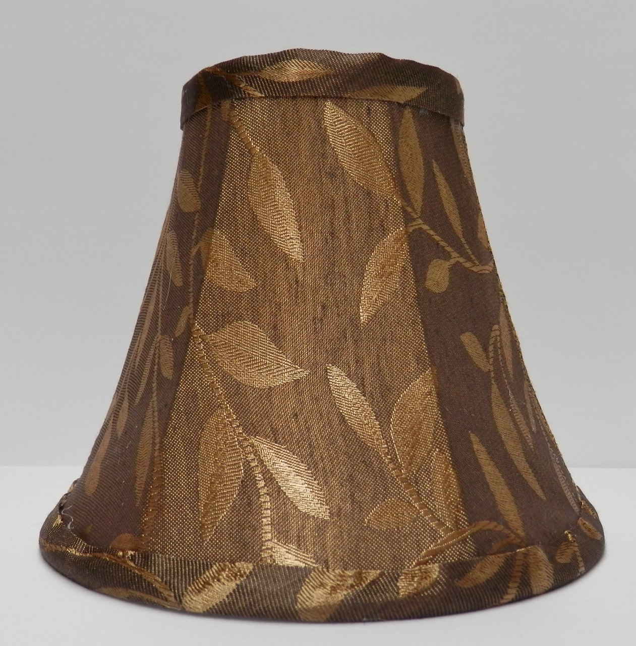 Bronze-Brown w/Gold Leaves Fabric Chandelier Lamp Shade