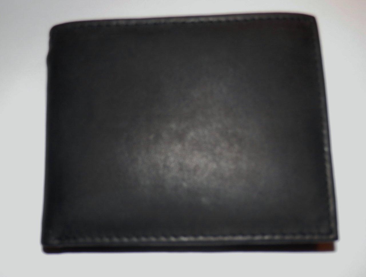Genuine Leather Men's Bifold Wallet #589 BLACK