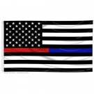 Thin Red & Blue Line Combo 3' x 5 ' Flag Support Firefighters & Law Enforcement
