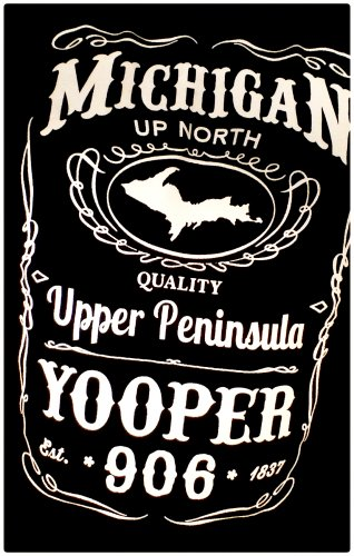 YOOPER Premium Sueded T-Shirt Black - Size 3XL Michigan Upper Peninsula Jack Daniels