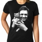 Johnny Cash With Kitten - WOMEN'S T Shirt SIZE L