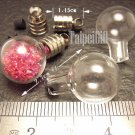 1 Round Ball Glass Bottle Vial Charm Pendant DIY NAME ON RICE bead Message Crystal Liquid sand Flake