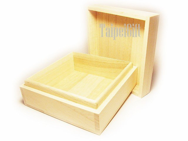 """Jewelry Box Indus Firmiana Parasol Wood Case Gift craft packing F6 inside 4.72"""" x 4.72"""" x 1.96"""""""