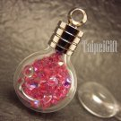 Swarovski Crystal Rose AB in Smily Face Bottle Vial Charm Pendant