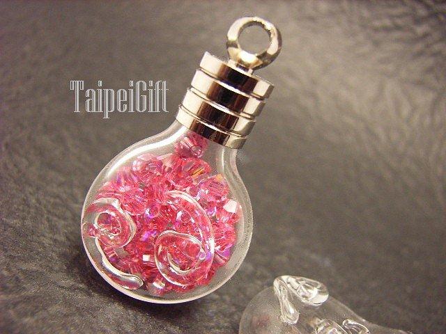 Swarovski Crystal Rose AB in Cancer Astrology Bottle Vial Charm Pendant