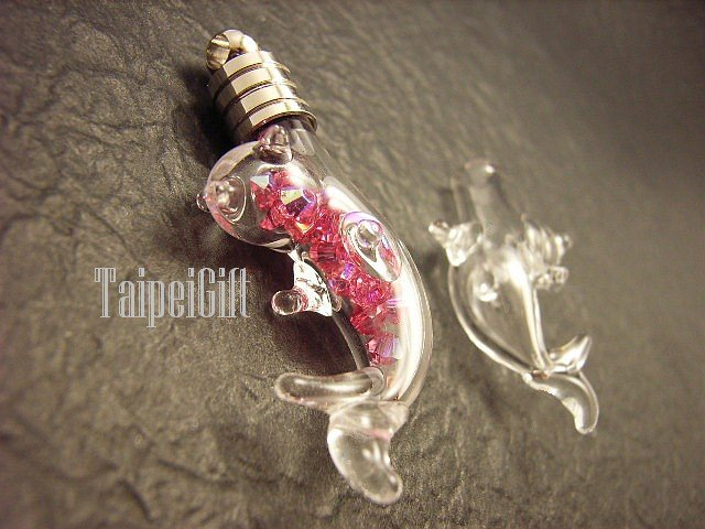 Swarovski Crystal Rose AB in  Dolphin(A) Mini Bottle Vial Charm Pendant