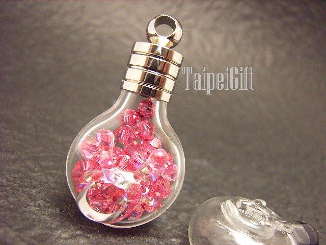 Swarovski Crystal Rose AB in Taurus Astrology Bottle Vial Charm Pendant