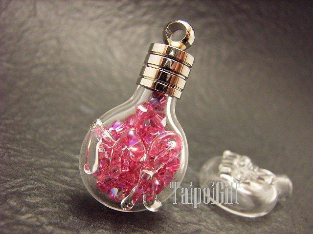 Swarovski Crystal Rose AB in Virgo Astrology Mini Bottle Vial Charm Pendant