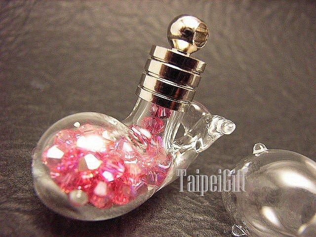Swarovski Crystal Rose AB in  Whale Mini  Bottle Vial Charm Pendant