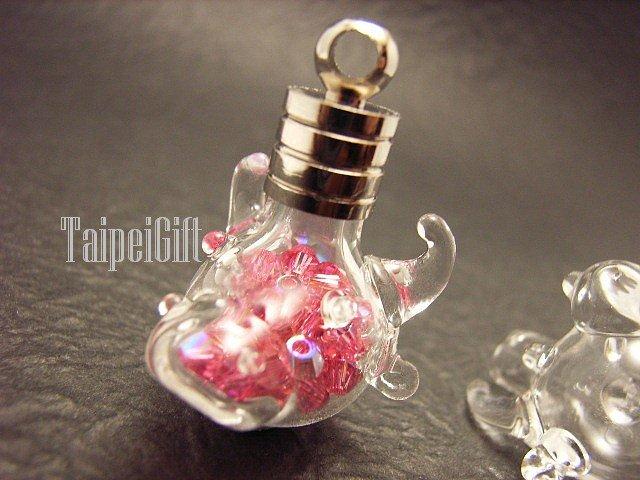 Swarovski Crystal Rose AB in Bull's Head Mini  Bottle Vial Charm Pendant