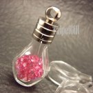 Swarovski Crystal Rose AB in Pentagon Glass Mini Bottle Vial Charm Pendant