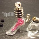 Swarovski Crystal Rose AB in High Heels Glass Bottle Vial Charm Pendant